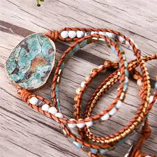 stone beaded bracelet images Leather multi wrap huge ocean stone natural stone beaded bracelet jpg