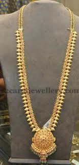 simple long chain necklace images Simple mango work gold haram jewellery designs jpg