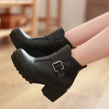 womens boots on ebay s black buckle chunky heels platform ankle