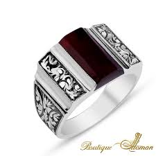 silver hand rings images Jewellery hand made silver man ring with red amber stone jewelry jpg