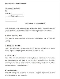 sample system administrator appointment letter appointment letter