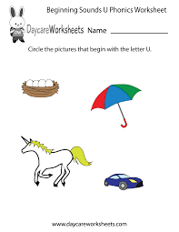 free beginning sounds letter u phonics worksheet for preschool