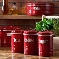 Stainless Steel Kitchen Canister Sets Kitchen Canister Sets In Red Color Homesfeed