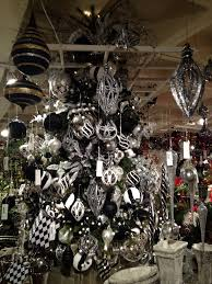 black and white tree with silver and black white baubles