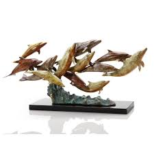 home sculptures dozen swimming dolphins sculpture brass decorative home