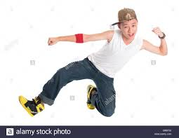 Full Cool Looking Asian Teen Hip Hop Dancer Dancing Isolated