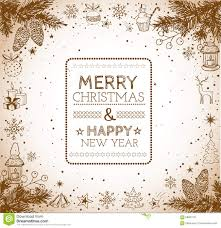 happy new year card vintage merry christmas and happy new year card stock vector