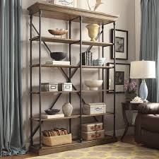 Double Bookcase Rustic Shelving Unit Tall Double Bookcase Wood Metal Display Shelf