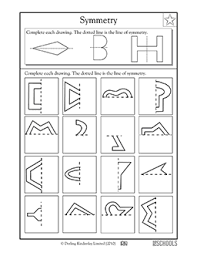 3rd grade 4th grade math worksheets lines of symmetry shapes