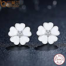 flower stud earrings 925 sterling silver primrose flower stud earrings white enamel