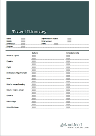 family travel itinerary template