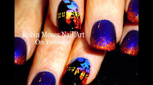 diy halloween nails easy haunted house nail art design youtube
