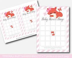 fox baby shower bingo cards fox baby bingo fox bingo cards bf1