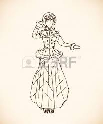 sketch of woman in retro winter clothes in fur coat hand