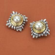 earrings brands frederica sterling silver 18k yellow gold mabe pearl earrings