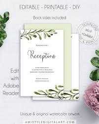 wedding reception card greenery wedding reception card invitations printable