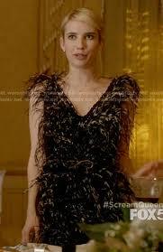 wornontv chanel u0027s black feather thanksgiving dress on scream