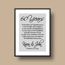 60th anniversary gifts 60th anniversary gift diamond anniversary personalized 60th