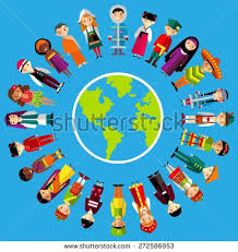 children standing around globe world stock vector 376638778