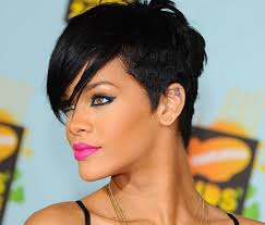 rihanna short hairstyles front and back view hairtechkearney