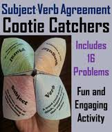 subject verb agreement cootie catchers by sciencespot teaching