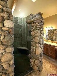 river rock bathroom ideas anhfaure win page 4 river rock shower tile glass block shower