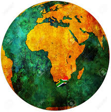 Africa On Map by South Africa Territory With Flag On Map Of Globe Stock Photo