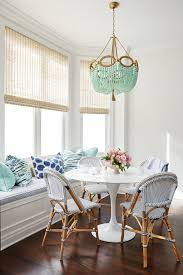 Hanging Chandelier Over Table by Breakfast Nook With Hanging Beaded Chandelier Over Furniture