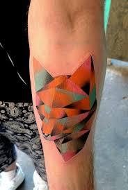 geometric watercolor fox head tattoo on forearm tattoos re