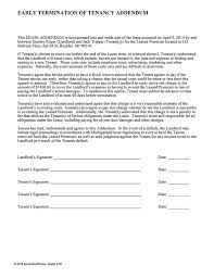 early lease termination addendum ez landlord forms