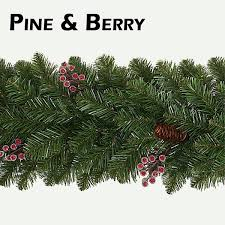 pine cone and frosted berry garlands