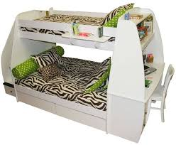 this sleek curvy white bunk bed features an abundance of storage options with top