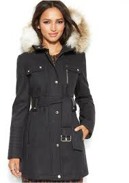 laundry by design hooded jacket laundry by design hooded faux fur belted wool blend coat perfect for