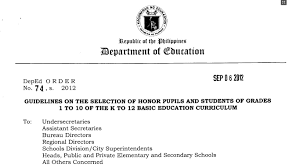 guidelines on the selection of honor pupils and students of grades