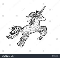 mythical unicorn magical animal doodle style stock vector
