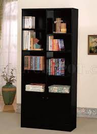 Modern Bookcase Furniture by Black Finish Modern Bookcase W Two Doors U0026 Shelves
