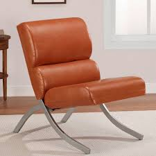 amazon com rust colored faux leather accent chair beautiful