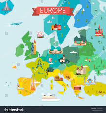 Modern Europe Map by Map Europe Travel Tourism Background Vector Stock Vector 423979249