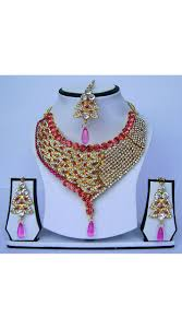 necklace pink stone images Stone work artificial necklace set with tika n62299 jpg