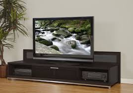 Modern Tv Stands Mocca Stained Solid Wood Low Profile Tv Stand With Stainless Steel