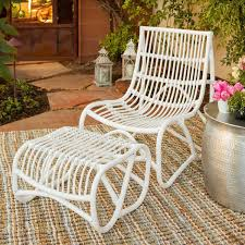 Safavieh Shenandoah White Wicker Chair And Ottoman Set Free - Outdoor white wicker furniture