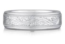engravings for wedding bands paisley engraved wedding band 14k white gold