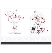 40th Birthday Invitation Cards Beautiful Ruby Wedding Invitation Cards 39 For Your Baby