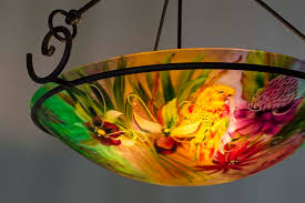 Tropical Chandelier Lighting Tropical Flowers And Exotic Birds Inspire Floravita U0027s Hand Painted