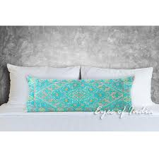 Turquoise Teal Embroidered Swati Bolster Long Lumbar Decorative