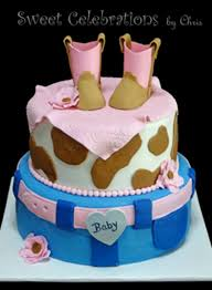 baby shower cake iced in buttercream with fondant accents boots