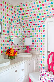 sumptuous polka dot sheets in bathroom transitional with painted