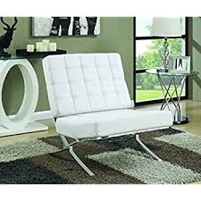 How To Use Accent Chairs Amazon Com Kingsbury White Leather Lounge Accent Chair Kitchen