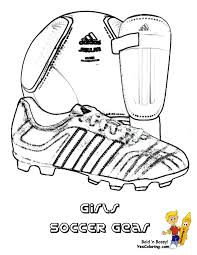 coloring page to print soccer gear soccer ball soccer shoe shin