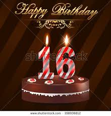 16 year happy birthday card cake stock vector 198936812 shutterstock